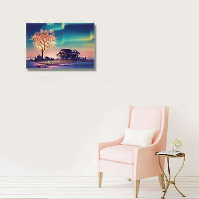 Night View Tree House Art Wall Painting Canvas Unframed Print Picture Hom OOV