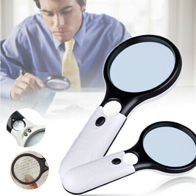 3 LED Light 45x Handheld Magnifier Reading Magnifying Glass Jewelry Loupe XL