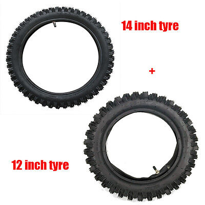 Front 60/100- 14 & 80/100- 12 inch 3.00-12 Rear Tyre Tire +TUBE PIT Dirt bike