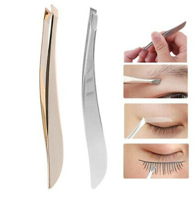 Professional Eyebrow Tweezers Nail Hair Beauty Slanted Tip Stainless Steel Tool