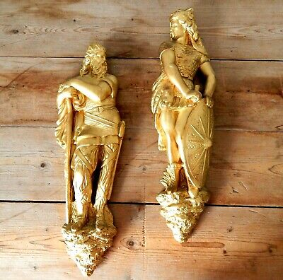 Large Pair Vintage Chalkware Norse Mythology Gods Plaster Gold Gilt Wall Plaques