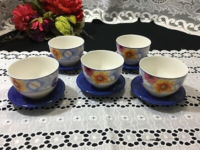 "Set of 5 Gherardini Italy ""Flower Pattern"" Tea Cups and Saucers"