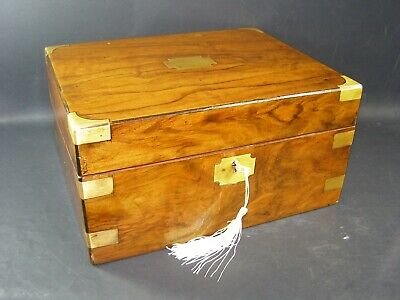Antique Walnut Document Box  Lock & Key 1870 Brass Corners, Bands & Center Piece