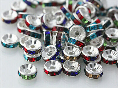 100Pcs Mixed Silver Plated Crystal Rondelle Spacers Beads Charms Findings 8mm