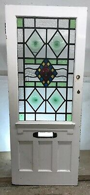 Victorian Edw Stained Glass Front Door Period Old Reclaimed Antique Leaded 1900