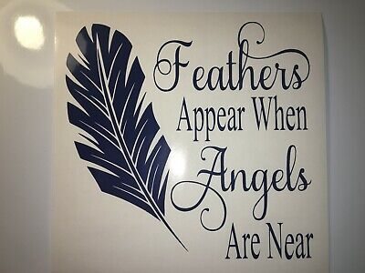 IKEA PHOTO BOX FRAME FEATHERS APPEAR WHEN ANGELS ARE NEAR VINYL STICKER DIY