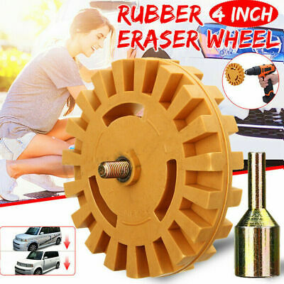 4 inch Decal Removal Eraser Wheel w/ Power Drill Arbor Adapter Rubber Pinstripe