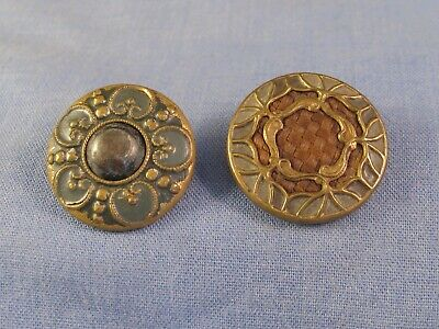 Nice Pair Antique Arts & Crafts Buttons Vintage Button Sewing Box Craft