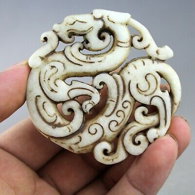 2.7'' China old white jade Chinese hand-carved ancient dragon jade pendant 2133