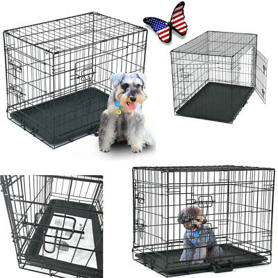 "20""24""30""36""42""48"" Pet Kennel Cat Dog Folding Steel Crate Animal Playpen Metal"