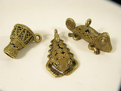 3 Messinganhänger AT33 Trommel Chamäleon Skorpion Ghana Brass pendants Drum