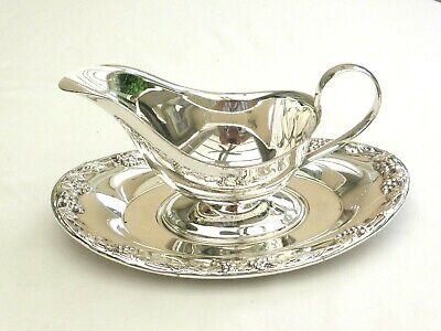 Vintage Silver Plated Gravy/Sauce Boat With Patterned Drip Tray   1470795/801