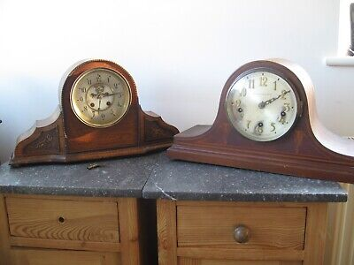 TWO OLD WOODEN MANTLE CLOCKS for restoration or repair