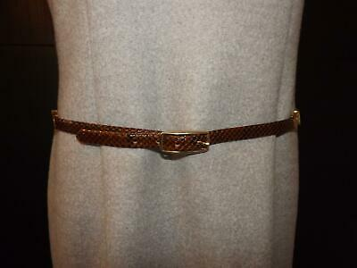 "Vintage Brown Snakeskin Skinny Leather Ladies Belt 34ins""-36ins"" Waist Gilt Trim"