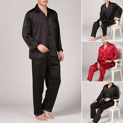 Men's Silk Satin Pajamas Set Sleepwear Loungewear Tops & Pants Plus Size L~3XL