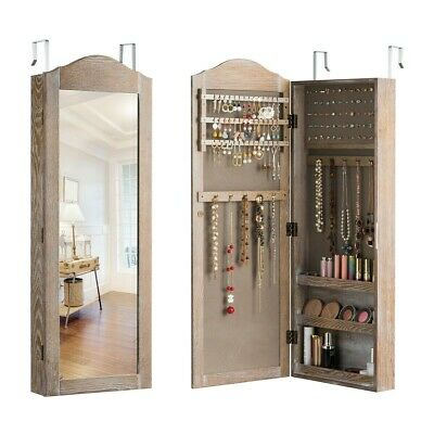 Home Wall Door Mounted Jewelry Cabinet  Armoire Storage Organizer with Mirror US