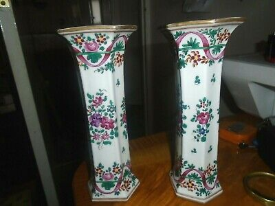 Pair Of Attractive,Antique/Vintage,Enamelled,Chinese Porcelain Vases