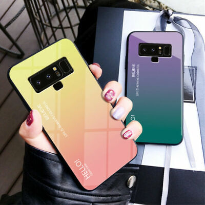 For Samsung Galaxy A70 A60 A50 A40 Gradient Back Tempered Glass Phone Case Cover