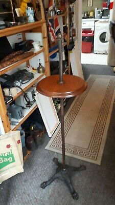 Antique mahogany brass and cast iron base addjustable Dumb Waiter drinks table