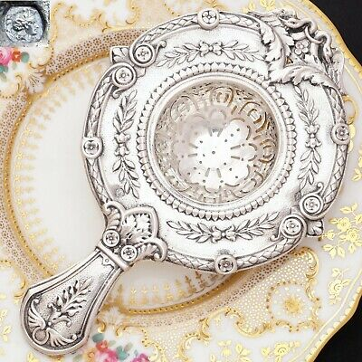 Antique French .800 Silver Ornate Repousse Over Cup Tea Strainer Empire Swans
