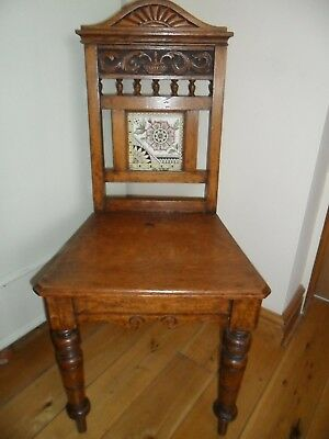Antique Arts & Crafts Oak Hall Chair - 19th Century. Good condition.