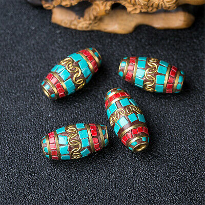 1Pcs Turquoise Copper Nepal Loose Beads Jewelry Making Colorful Accessorie Craft