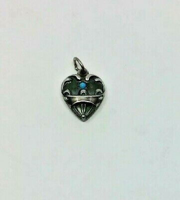 Vintage Sterling Silver Turquoise Ornate Puffy Heart Charm