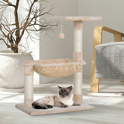 Cat Tree Kitty Activity Center with Natural Sisal Scratching Post Hammock