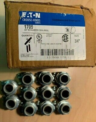 "Eaton Crouse-Hinds 1709 3/4"" Squeeze Insulated Connector Mall. Iron (Lot of 11)"
