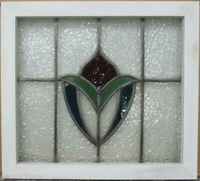 "OLD ENGLISH LEADED STAINED GLASS WINDOW Gorgeous Abstract Design 20"" x 18"""