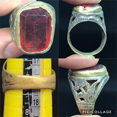 Unique wonderful post medieval brass ring with red glass bead