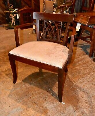 Antique Mahogany Vanity Arm Chair Vintage Bedroom Furniture