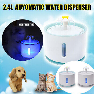 2.4L Automatic Pet LED Water Fountain Dog Cat Drinking Bowl Dispenser Feeder