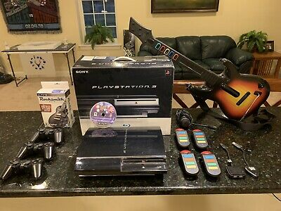 Massive PS3 Lot: OB, 30 Games, 3 Controllers, Rocksmith, Guitar+Micro, Buzz,