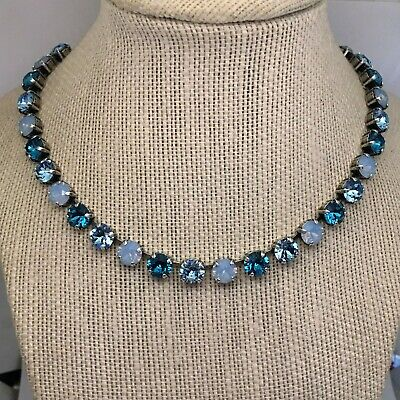 Antique Silver Plated Cup Chain Necklace Made W Genuine Swarovski Crystal  Blues