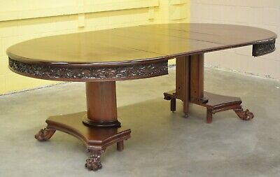 Antique CARVED Mahogany Extension Round Dining BANQUET TABLE Pedestal PAW FEET