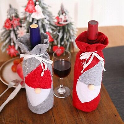 Christmas Wine Bottles Covers Champagne Embroidery Wraps Set Toys Gift Bags H