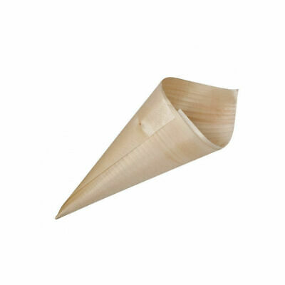 50 x Disposable Serving Cone Biowood 180x72mm Catering / Functions / Parties