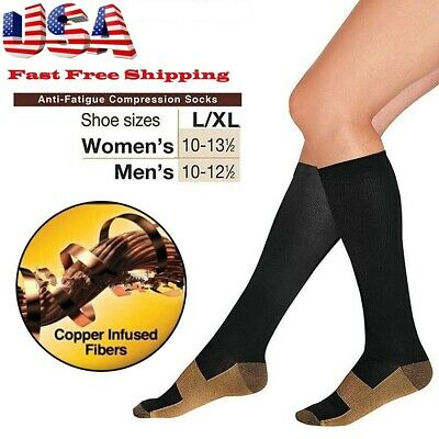 Copper Energy Knee High Compression Socks, Black L/XL~ Free Shipping from US