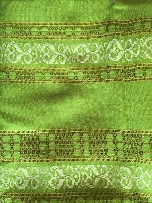 Vintage Retro 70s Funky Green Embroidered Woven Rectangular Table Cloth
