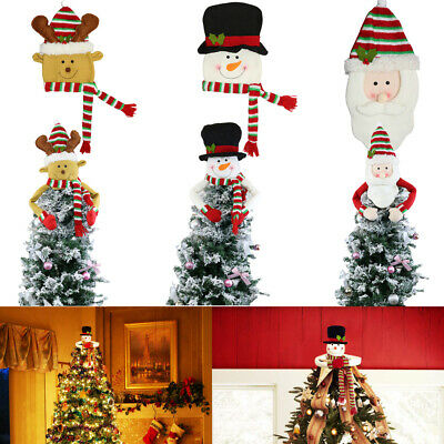 US Frosty Snowman Top Hat Christmas Tree Topper Decor Holiday Winter Wonderland
