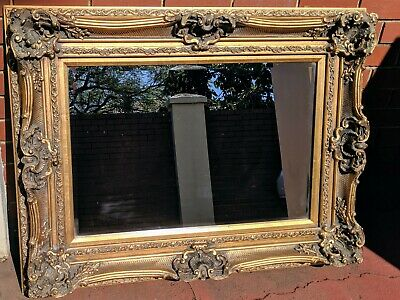 Victorian Antique Style Used Old Wood Large Gold Framed Mirror