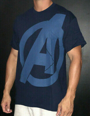 The Avengers A Logo Symbol Shield Large LG Shirt T-Shirt Marvel Comics Navy Blue