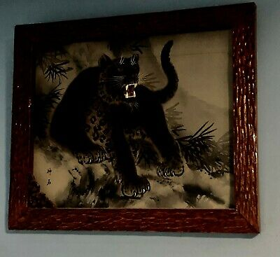 Hand painted Asian black panther on cotton silk canvas