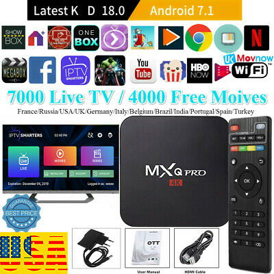 MXQ Pro 4K 3D 64Bit Android 7.1.2 Quad Core Smart TV Box 1080P HDMI WIFI 17.6 US