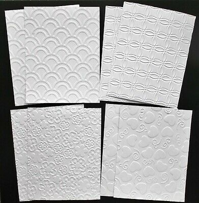 MIXED EMBOSSED WHITE CARD CRAFT PAPER X 8 - 2 Each Hearts Blossom Arches, Mosaic