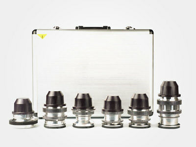 Set of 6 Anamorphic Flare & Bokeh Silver Amber Full Frame Lenses with PL mount