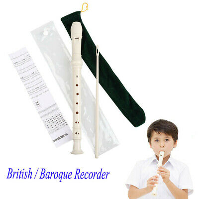 British Baroque Soprano Recorder 8 Holes Descant Instrument with Cleaning Rod