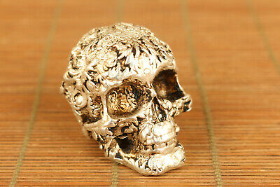 Chinese old copper hand carving skull statue figure hand piece table decoration