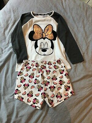 Minnie Mouse Pyjama Set 5-6 Years Disney White Sequins Girls